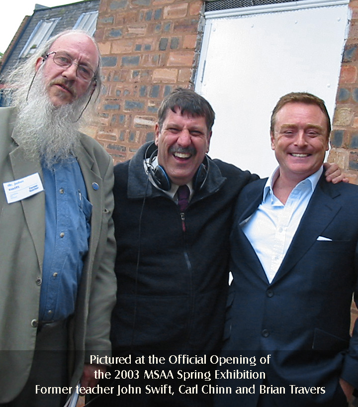 Pictured at the Official Opening of the 2003 MSAA Spring Exhibition - Former Teacher  Professor John Swift, Radio WM's Carl Chinn, and former student and UB40 Band Member Brian Travers
